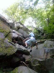 climbing rocks